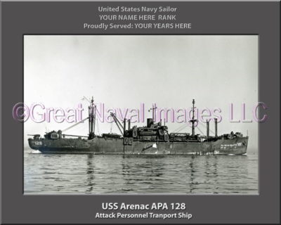 USS Arenac APA 128 Personalized Ship Photo on Canvas
