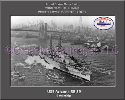 USS Arizona BB 39 Personalized Photo on Canvas