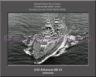 USS Arkansas BB 33 Personalized Photo on Canvas