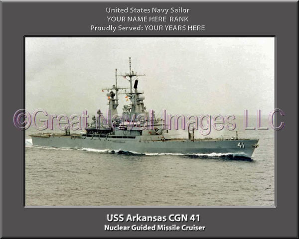 USS Arkansas CGN 41 Personalized Navy Ship Photo Printed on Canvas