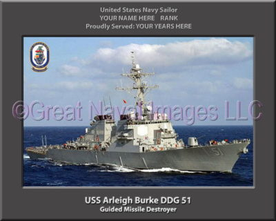 USS Arleigh Burke DDG 51 Personalized Photo on Canvas