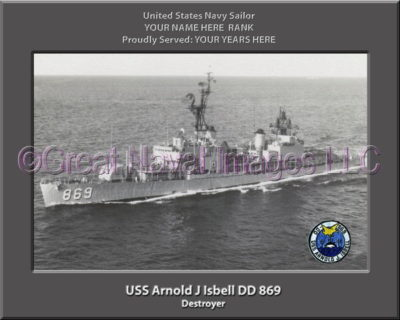 USS Arnold J Isbell DD 869 Personalized Photo on Canvas