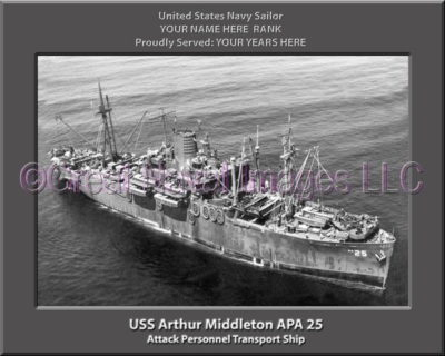 USS Arthur Middleton APA 25 Personalized Ship Photo on Canvas