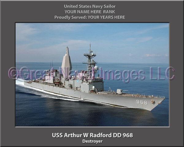 USS Arthur W Radford DD 968 Personalized Photo on Canvas