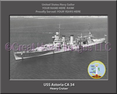 USS Astoria CA 34 Personalized Navy Ship Photo Printed on Canvas