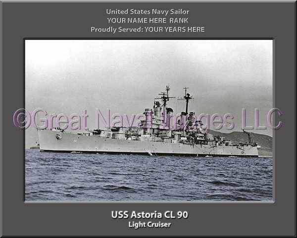 USS Astoria CL 90 Personalized Navy Ship Photo Printed on Canvas