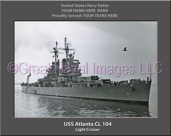 USS Atlanta CL 104 Personalized Navy Ship Photo Printed on Canvas