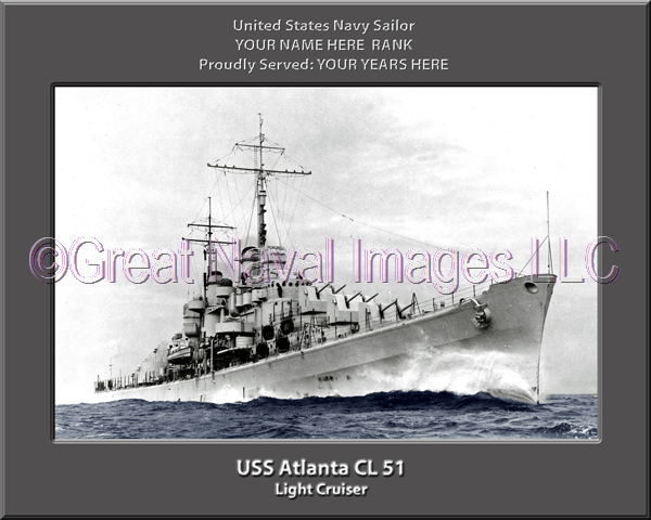 USS Atlanta CL 51 Personalized Navy Ship Photo Printed on Canvas
