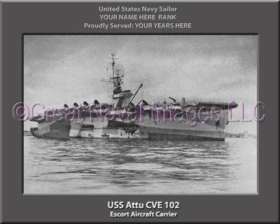 USS Attu CVE 102 Personalized Photo on Canvas