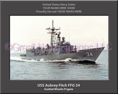 USS Aubrey Fitch FFG 34 Personalized Ship Photo on Canvas