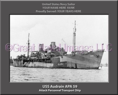 USS Audrain APA 59 Personalized Ship Photo on Canvas