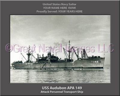 USS Audubon APA 149 Personalized Ship Photo on Canvas