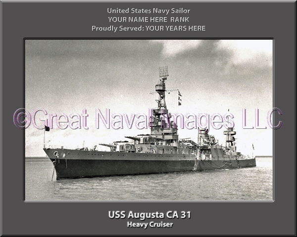 USS Augusta CA 31 Personalized Navy Ship Photo Printed on Canvas