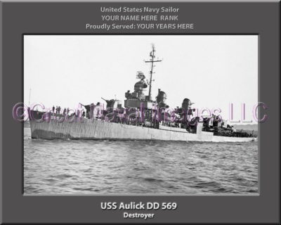 uss Aulick DD 569 Personalized Photo on Canvas