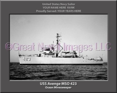 USS Avenge MSO 423 Personalized and Printed on Canvas