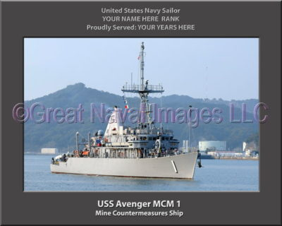 USS Avenger MCM 1 Personalized and Printed on Canvas