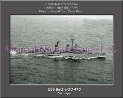 USS Bache DD 470 Personalized ship Photo