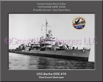 USS Bache DDE 470 Personalized ship Photo