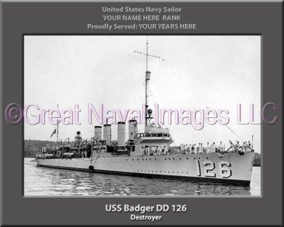 USS Badger DD 126 Personalized Navy Ship Print