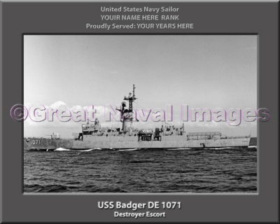 USS Badger DE 1071 Personalized ship Photo