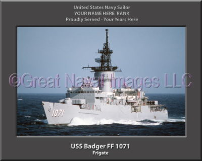 USS Badger FF 1071 Personalized Ship Photo on Canvas