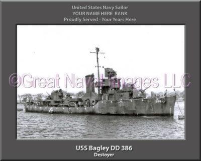 USS Bagley DD 386 Personalized ship Photo