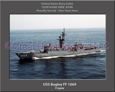 USS Bagley FF 1069 Personalized Ship Photo on Canvas