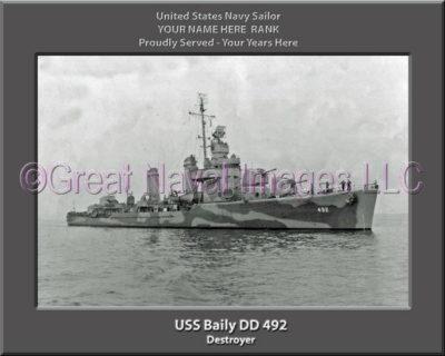 USS Bailey DD 492 Personalized ship Photo