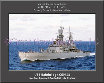 USS Bainbridge CGN 25 Personalized Navy Ship Photo Printed on Canvas