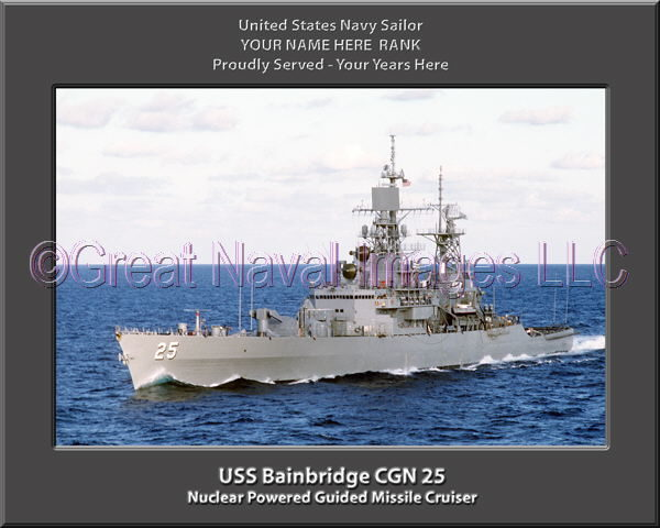 USS Bainbridge CGN 25 Personalized Navy Ship Photo Printed on Canvas