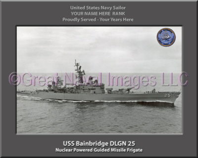 USS Bainbridge DLGN 25 Personalized Ship Photo on Canvas