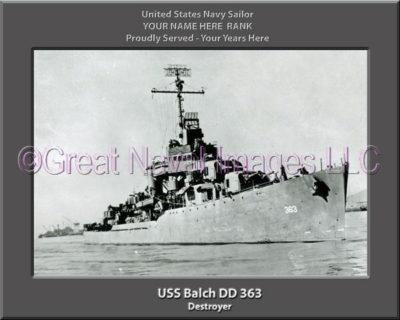 USS Balch DD 363 Personalized ship Photo