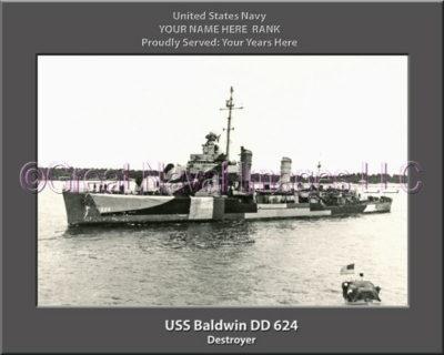 USS Baldwin DD 624 Personalized ship Photo