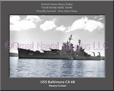 USS Baltimore CA 68 Personalized Navy Ship Photo Printed on Canvas