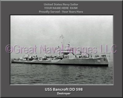 USS Bancroft DD 598 Personalized ship Photo