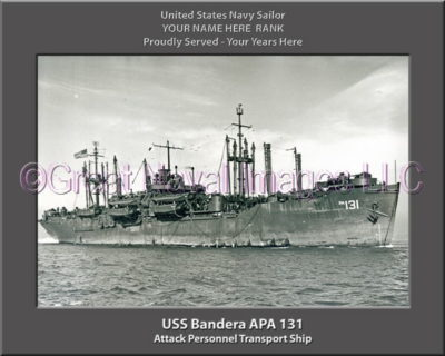 USS Bandera APA 131 Personalized Ship Photo on Canvas