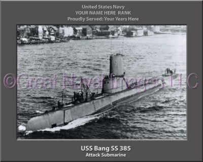 USS Bang SS 385 Personalized Photo on Canvas