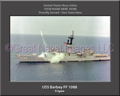 USS Barbey FF 1088 Personalized Ship Photo on Canvas