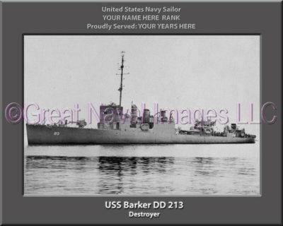 USS Barker DD 213 Personalized ship Photo