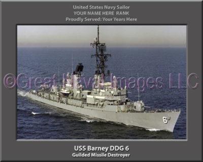USS Barney DDG 6 Personalized ship Photo