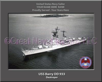 USS Barry DD 933 Personalized ship Photo