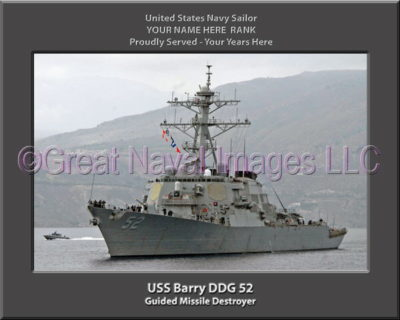 USS Barry DDG 52 Personalized ship Photo