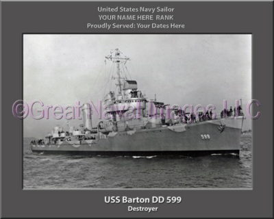 USS Barton DD 599 Personalized ship Photo