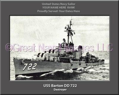 USS Barton DD 722 Personalized ship Photo