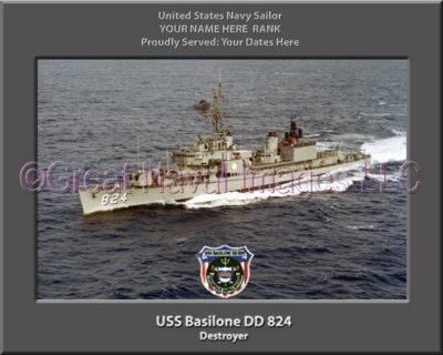 USS Basilone DD 824 Personalized ship Photo