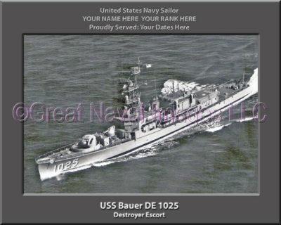 USS Bauer DE 1025 Personalized ship Photo