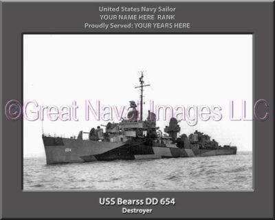 USS Bearss DD 654 Personalized ship Photo