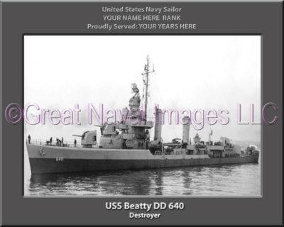 USS Beatty DD 640 Personalized Navy Ship Photo