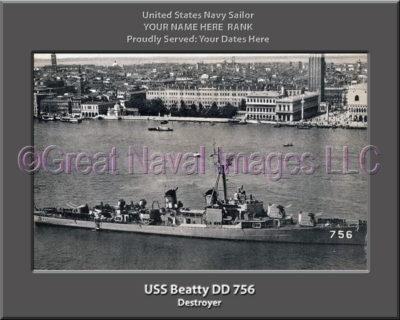 USS Beatty DD 756 Personalized ship Photo
