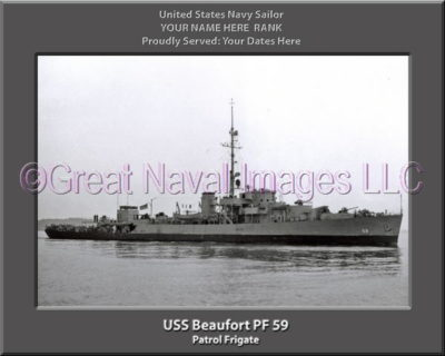 USS Beaufort PF 59 Personalized Ship Photo on Canvas
